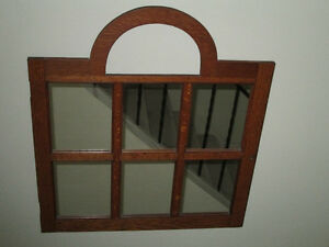 Mirror Set in 6 Panes Oak Arched Frame