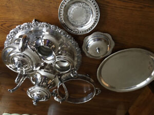 silver service and trays