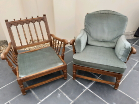 Pair of original vintage mid century wooden carved Ercol Old Colonial