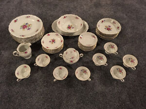 Antique Meissen Flower Fine China Set by Wawel, 8-Place setting