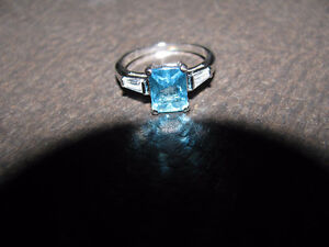 Simulated Blue & White Topaz Ring