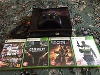 XBox 360 with 4 games (250gb) & wireless controller