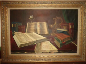 ORIGINAL FRAMED, SIGNED ANTIQUE OIL PAINTING - $500 (MILTON)