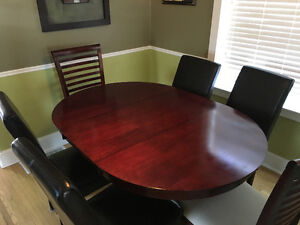 Cherrywood dining table and 6 chairs