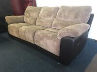 Brown beige cord fabric and leather recliner 3 piece suite three seater sofa and 2 armchairs