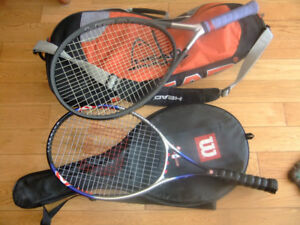 Tennis Rackets with covers