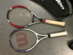 tennis rackets and cases