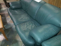 Green Leather Couch #HFHReStore