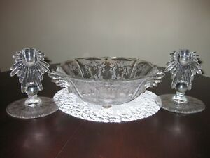 VERY OLD - ETCHED GLASS - BOWL & CANDLE STICKS