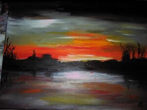 "Original Painting ""Sunset Over Heckman's Island"""
