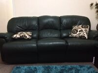 Green leather recliner sofas