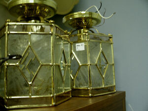 Pair of Bevelled & Frosted Glass Lantern Style Lights
