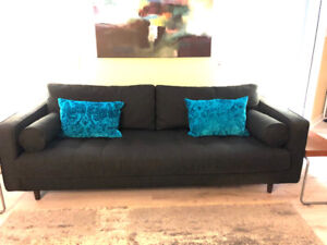 Soft black mid century high end sofa