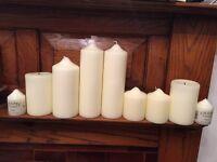 Job lot - large chunky church candles - ideal for weddings / Christmas