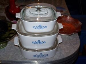 3 BLUE CORNING WARE CORNFLOWER COVERED CASSEROLES