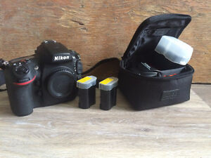Nikon d800 (body only), extra battery, and flash