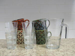 Set of 6 Glasses with Pitcher + 4 Mugs