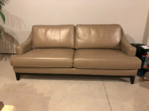 "Brand New Taupe leather sofa Canadian made ""Decorest"""