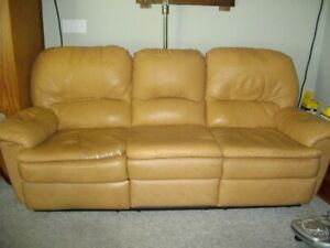 Leather couch recline each end
