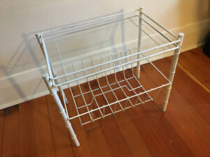 Vintage white metal and glass side table