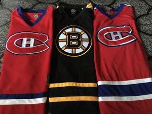 3 NHL Hockey Jerseys Montreal & Boston / Authentic / ADULT L-XL