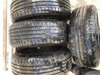 Four alloy wheels with tyres