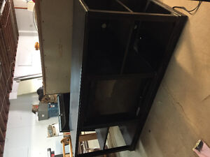 *WOODEN ENTERTAINMENT CENTRE/ WITH FIRPLACE BUILT IN*