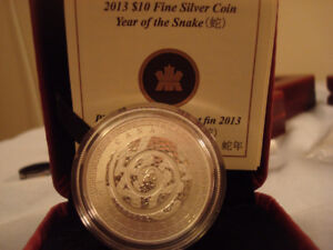 RCM Uncirculated 10 Dollar Year Of The Snake Fine Silver Coin