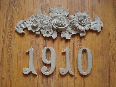 Stucco Jugendstil Rosen Jahreszahl- Schmuckelement Zahlen - frei wählbar - Beton