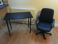 Black Desk + Black Leather Chair (Like New)