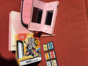 NINTENDO DS LITE PINK WITH CASE & GAMES