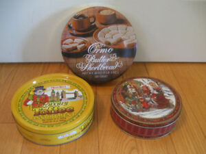 THREE OLD VINTAGE DECORATIVE COLLECTOR'S / STORAGE TINS