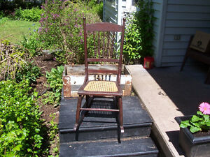 Antique Rocking Chair With Cane Seat