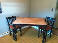 Solid cherrywood pub style table and 8 chairs