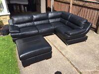 Black fake leather corner sofa
