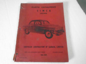 Parts Catalog SIMCA ARONDE Chrysler Corp Canada Issued Dec 1959