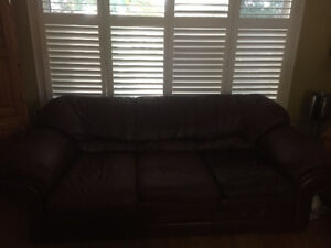 Leather Couch, love seat and reclining chair