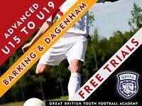 Free Football Trials - Last week - U15-U19 in Barking and Tottenham