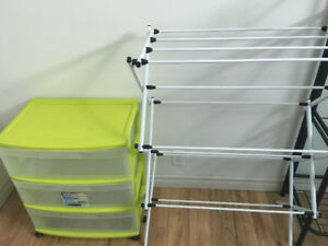clothes rack and drawer cart