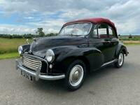 1963 Morris Minor Convertible 1098cc. Black with red leather interior. Red hood