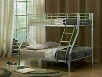 🔵💖🔴your home style🔵💖🔴TRIO SLEEPER METAL BUNK BED WITH MATTRESS SINGLE TOP DOUBLE BOTTOM