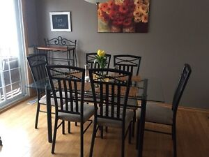 Metal/Glass Top Dining Table with 6 Chairs
