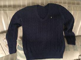 Genuine Ralph Lauren cable knit navy jumper