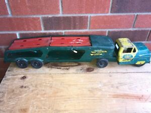 Vintage Steel Toy Car Hauler, Motorcycle, Horse Trailer