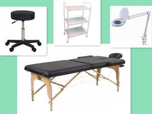 4 combo 229 Table de massage+Lampe loupe+Chaise roulante+chariot