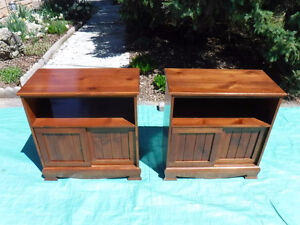 2 solid wood end tables 1 open shelf and a cupboard with