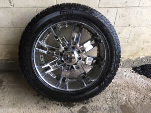 24 inch rims with tires fits super duty ford trucks.  a set of 4