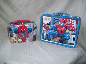 2 - Spiderman Metal Lunch Cans