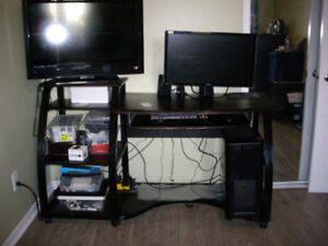 4 in one BLACK METALcomputer table/desk/ entertainment center