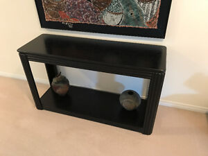 Matching black wood coffee tables